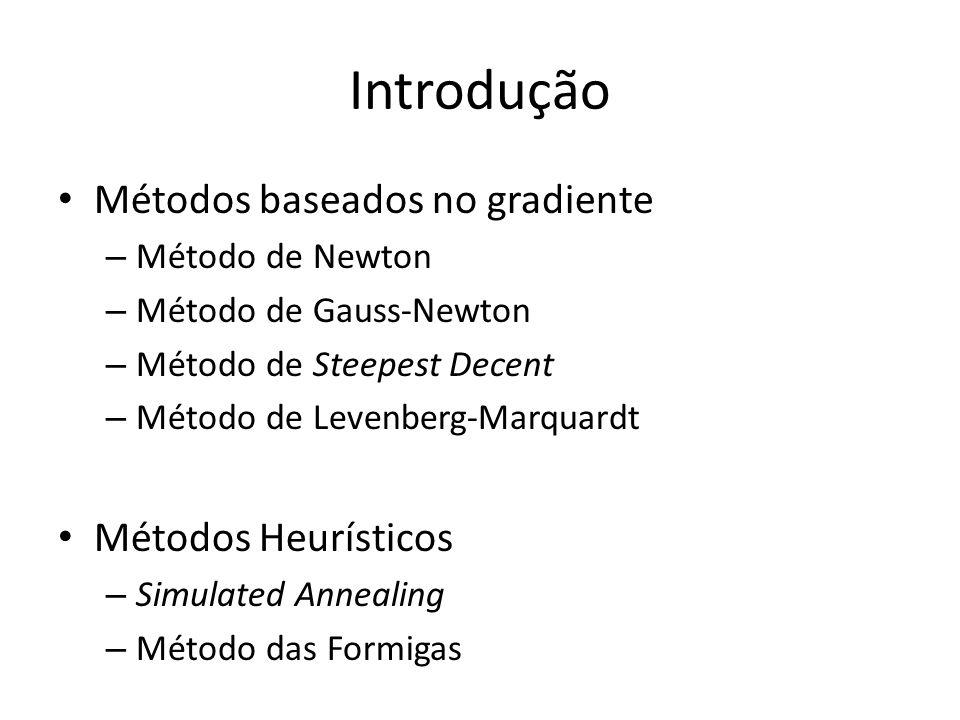 Introdução Métodos baseados no gradiente – Método de Newton – Método de Gauss-Newton – Método de Steepest Decent – Método de Levenberg-Marquardt Métodos Heurísticos – Simulated Annealing – Método das Formigas