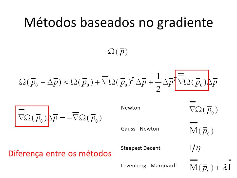 Métodos baseados no gradiente Diferença entre os métodos Newton Gauss - Newton Steepest Decent Levenberg - Marquardt