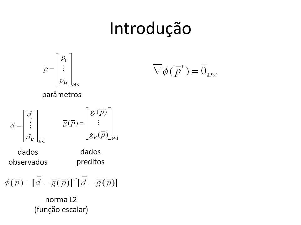 Introdução dados observados dados preditos norma L2 (função escalar) parâmetros