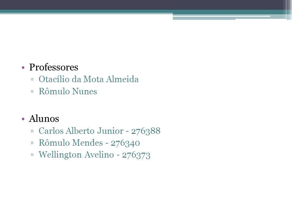 Professores Otacílio da Mota Almeida Rômulo Nunes Alunos Carlos Alberto Junior - 276388 Rômulo Mendes - 276340 Wellington Avelino - 276373