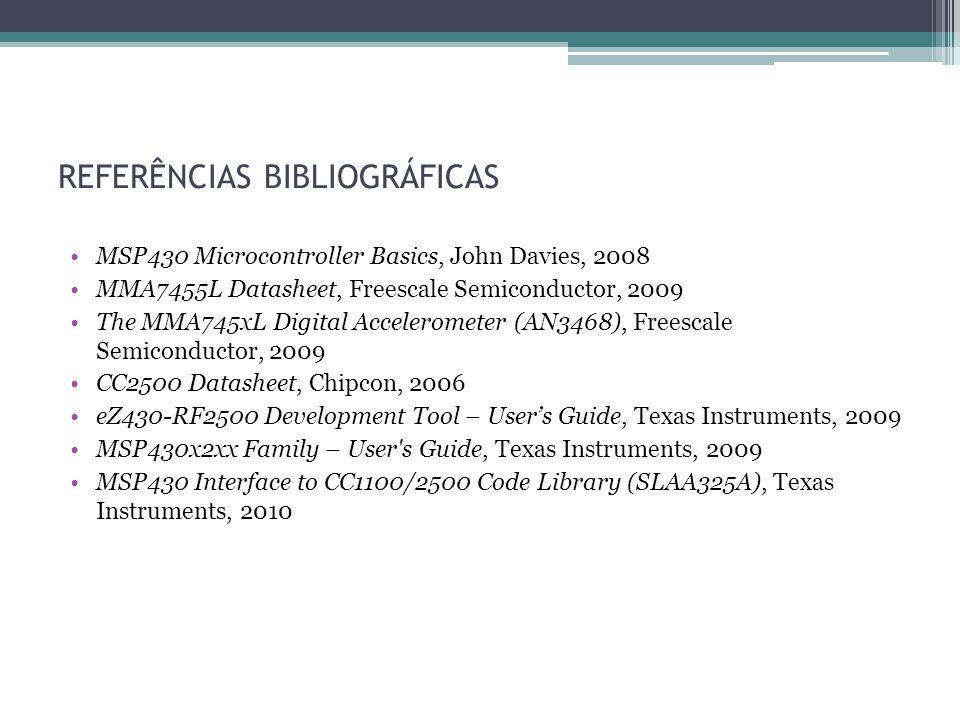 REFERÊNCIAS BIBLIOGRÁFICAS MSP430 Microcontroller Basics, John Davies, 2008 MMA7455L Datasheet, Freescale Semiconductor, 2009 The MMA745xL Digital Acc
