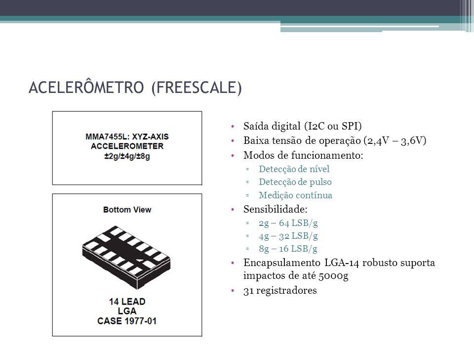 ACELERÔMETRO (FREESCALE) Saída digital (I2C ou SPI) Baixa tensão de operação (2,4V – 3,6V) Modos de funcionamento: Detecção de nível Detecção de pulso