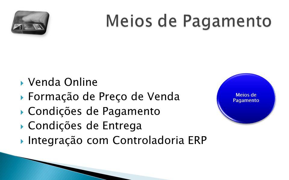 Venda Online Formação de Preço de Venda Condições de Pagamento Condições de Entrega Integração com Controladoria ERP Meios de Pagamento