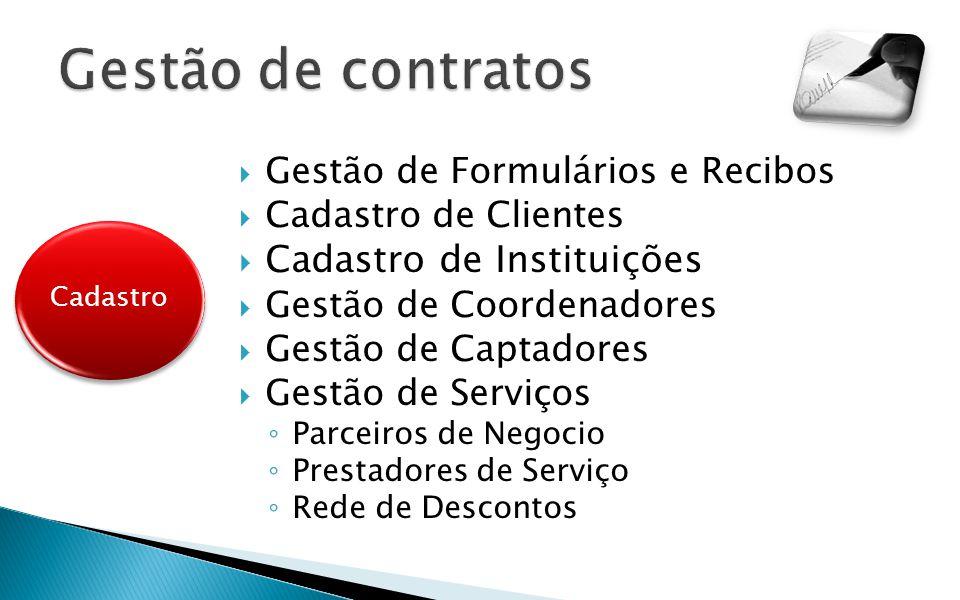 Gestão de Formulários e Recibos Cadastro de Clientes Cadastro de Instituições Gestão de Coordenadores Gestão de Captadores Gestão de Serviços Parceiro