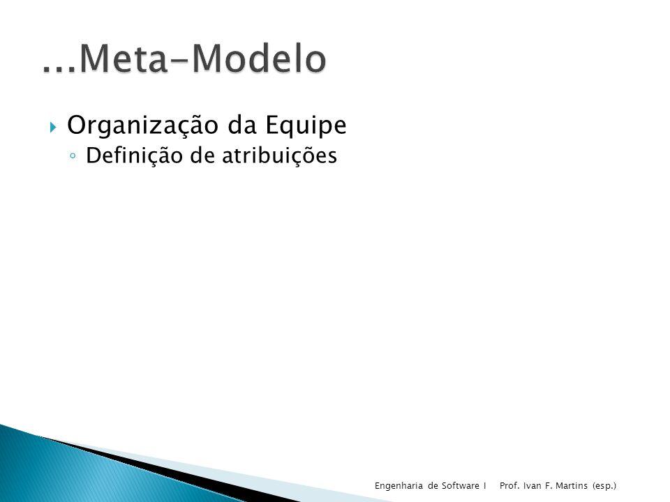 Organização da Equipe Definição de atribuições Prof. Ivan F. Martins (esp.) Engenharia de Software I