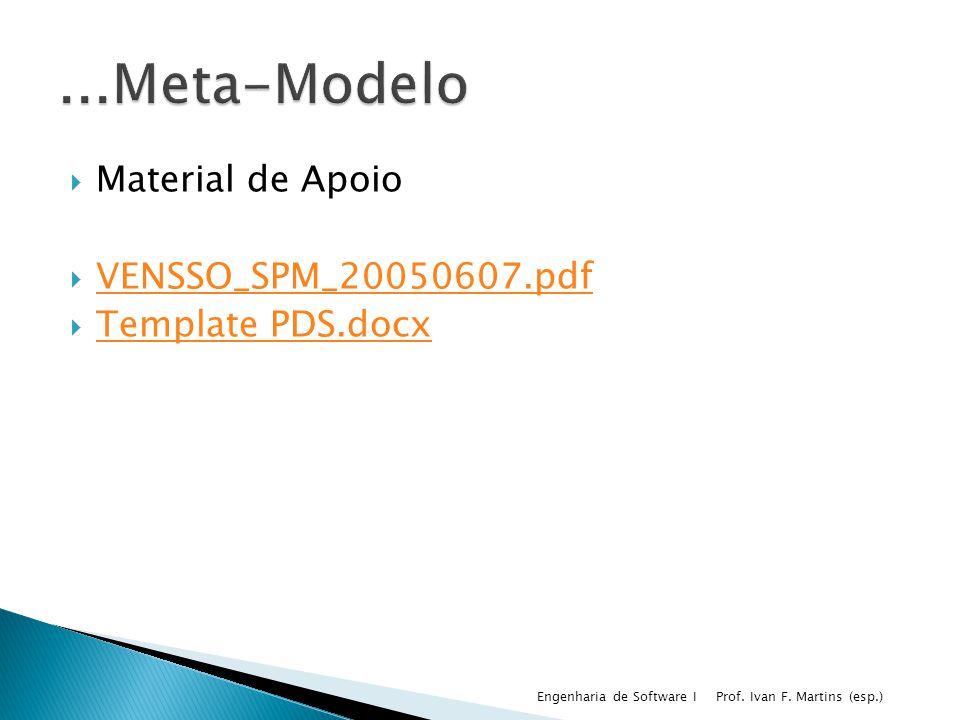Material de Apoio VENSSO_SPM_20050607.pdf Template PDS.docx Prof. Ivan F. Martins (esp.) Engenharia de Software I