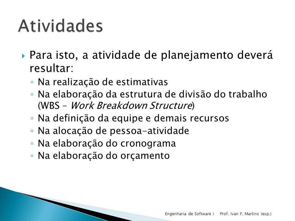 Para isto, a atividade de planejamento deverá resultar: Na realização de estimativas Na elaboração da estrutura de divisão do trabalho (WBS – Work Bre