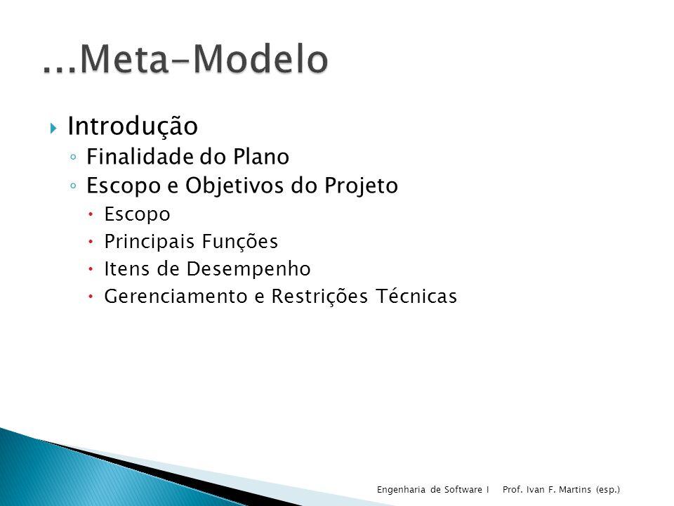 Introdução Finalidade do Plano Escopo e Objetivos do Projeto Escopo Principais Funções Itens de Desempenho Gerenciamento e Restrições Técnicas Prof. I