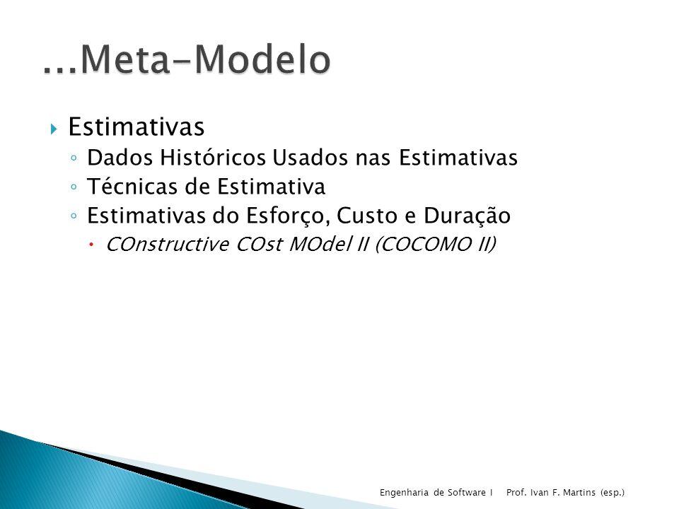 Estimativas Dados Históricos Usados nas Estimativas Técnicas de Estimativa Estimativas do Esforço, Custo e Duração COnstructive COst MOdel II (COCOMO