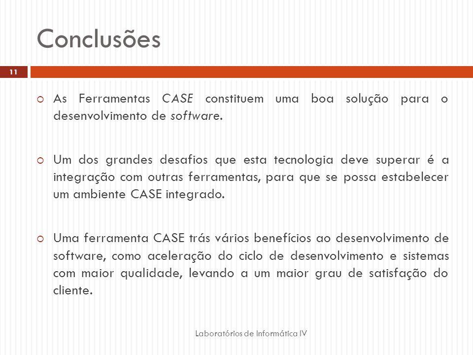 Conclusões Laboratórios de Informática IV 11 As Ferramentas CASE constituem uma boa solução para o desenvolvimento de software. Um dos grandes desafio
