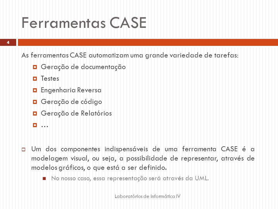Ferramentas CASE Laboratórios de Informática IV 4 As ferramentas CASE automatizam uma grande variedade de tarefas: Geração de documentação Testes Enge
