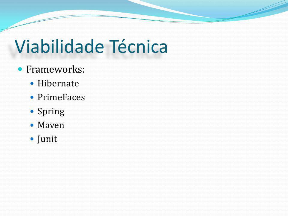 Viabilidade Técnica Frameworks: Hibernate PrimeFaces Spring Maven Junit