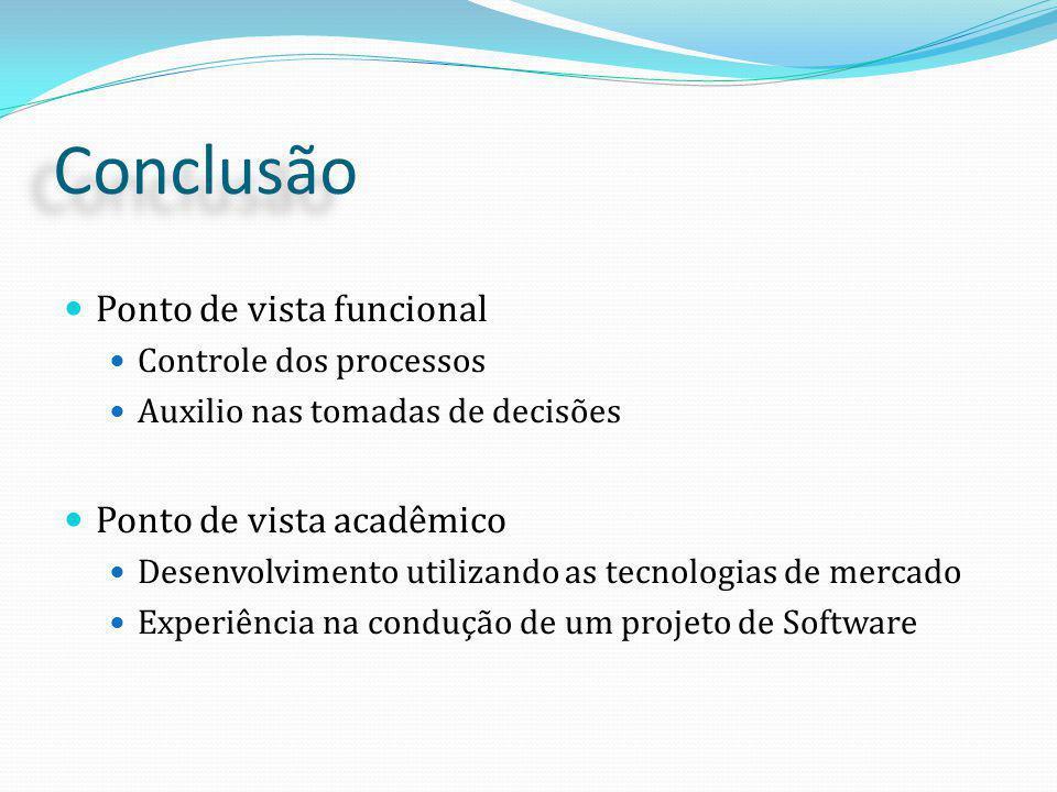 Conclusão Ponto de vista funcional Controle dos processos Auxilio nas tomadas de decisões Ponto de vista acadêmico Desenvolvimento utilizando as tecnologias de mercado Experiência na condução de um projeto de Software