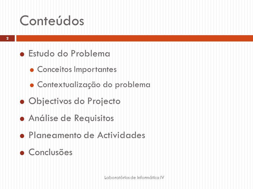 Conteúdos Estudo do Problema Conceitos Importantes Contextualização do problema Objectivos do Projecto Análise de Requisitos Planeamento de Actividades Conclusões Laboratórios de Informática IV 2