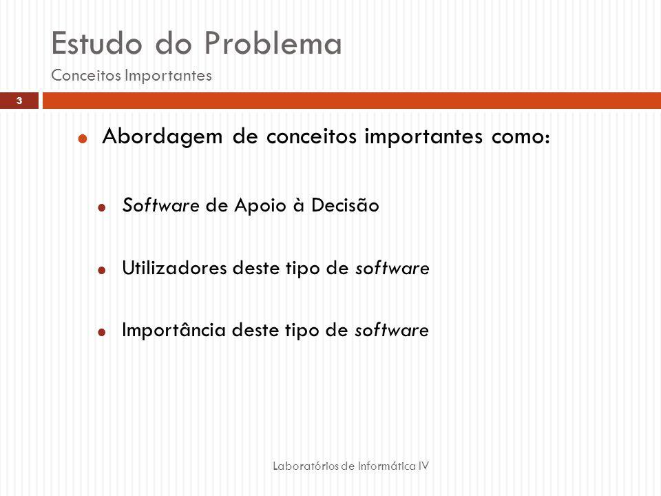 Estudo do Problema Conceitos Importantes Laboratórios de Informática IV 3 Abordagem de conceitos importantes como: Software de Apoio à Decisão Utilizadores deste tipo de software Importância deste tipo de software