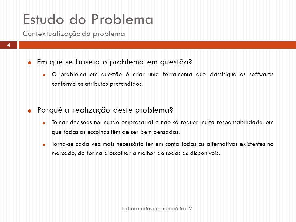Estudo do Problema Contextualização do problema Laboratórios de Informática IV 4 Em que se baseia o problema em questão.