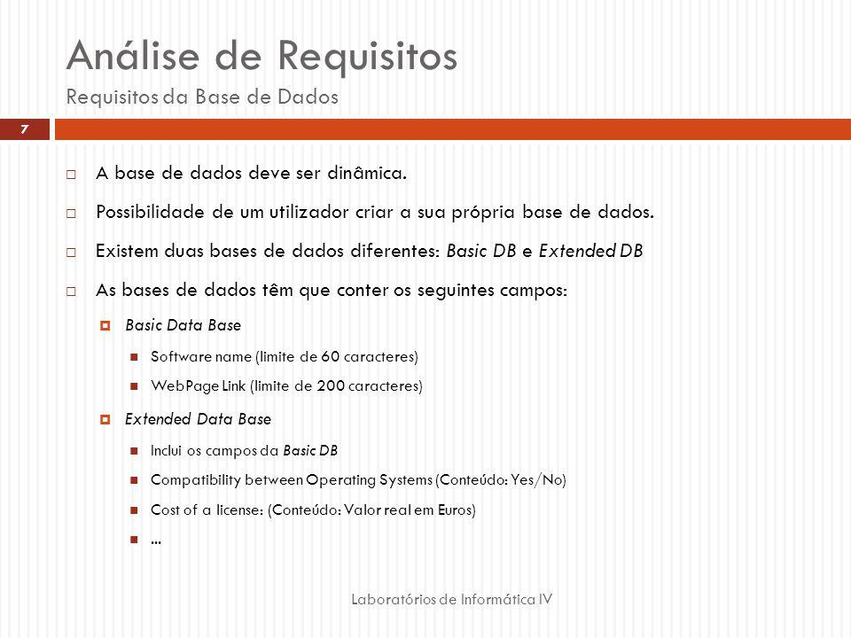 Análise de Requisitos Requisitos da Base de Dados A base de dados deve ser dinâmica. Possibilidade de um utilizador criar a sua própria base de dados.