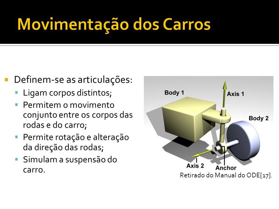 Definem-se as articulações: Ligam corpos distintos; Permitem o movimento conjunto entre os corpos das rodas e do carro; Permite rotação e alteração da direção das rodas; Simulam a suspensão do carro.