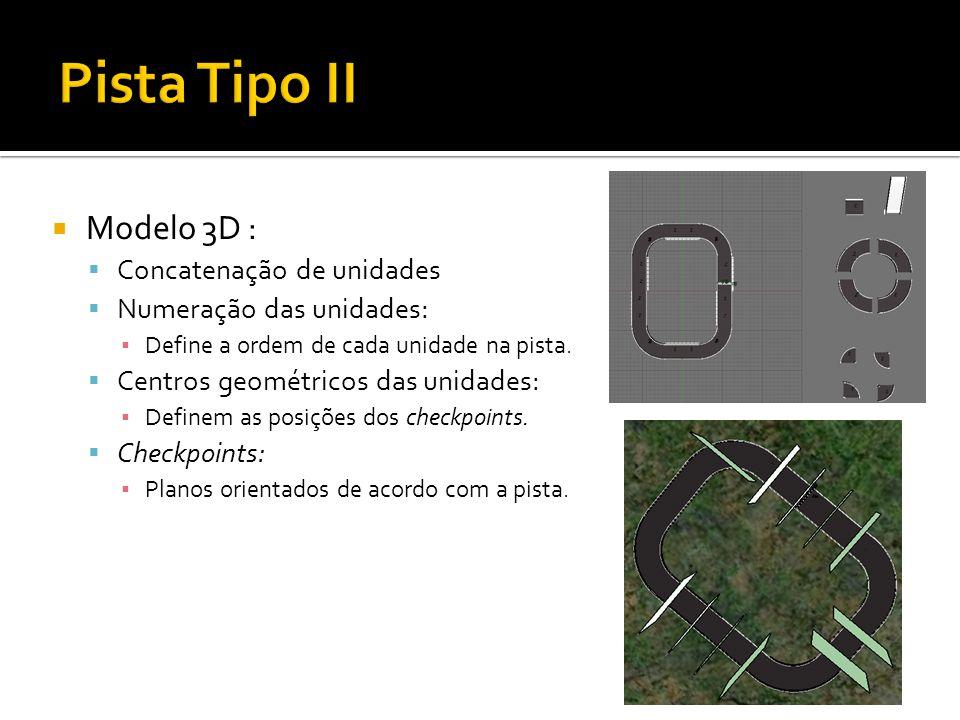 Modelo 3D : Concatenação de unidades Numeração das unidades: Define a ordem de cada unidade na pista.