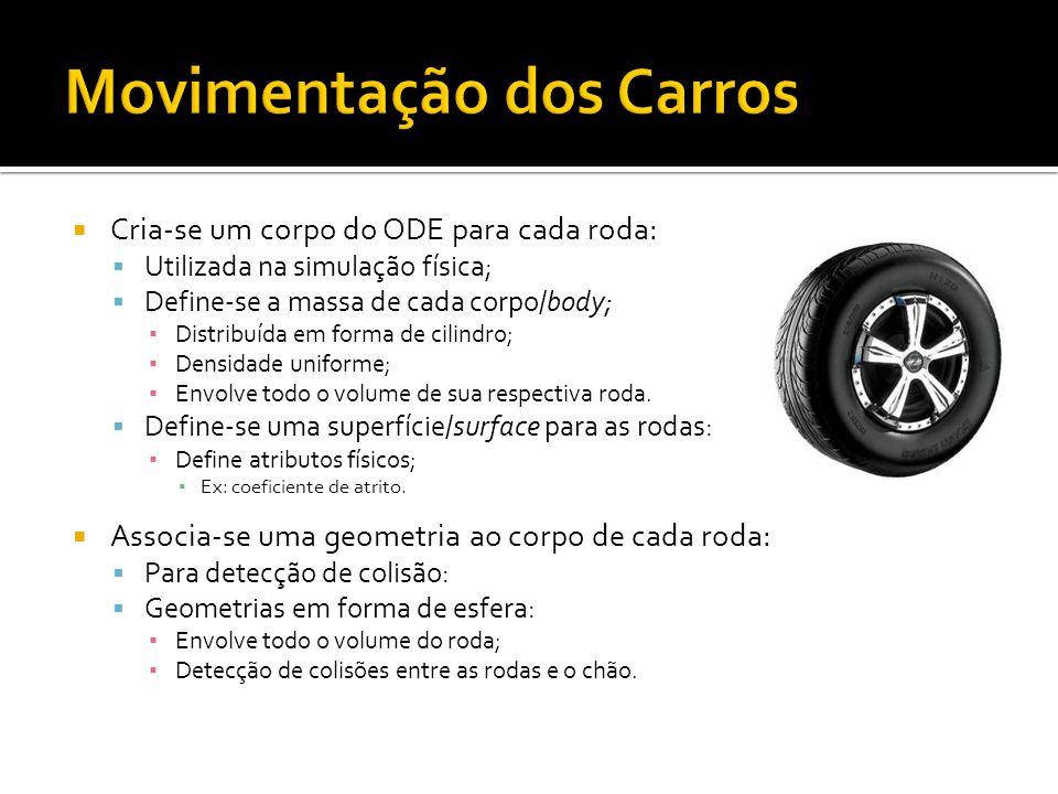 Cria-se um corpo do ODE para cada roda: Utilizada na simulação física; Define-se a massa de cada corpo/body; Distribuída em forma de cilindro; Densidade uniforme; Envolve todo o volume de sua respectiva roda.