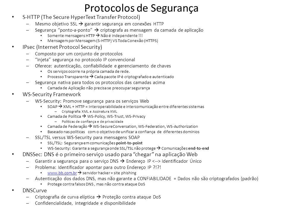 Protocolos de Segurança S-HTTP (The Secure HyperText Transfer Protocol) – Mesmo objetivo SSL garantir segurança em conexões HTTP – Segurança ponto-a-p