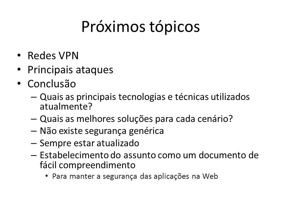Próximos tópicos Redes VPN Principais ataques Conclusão – Quais as principais tecnologias e técnicas utilizados atualmente? – Quais as melhores soluçõ