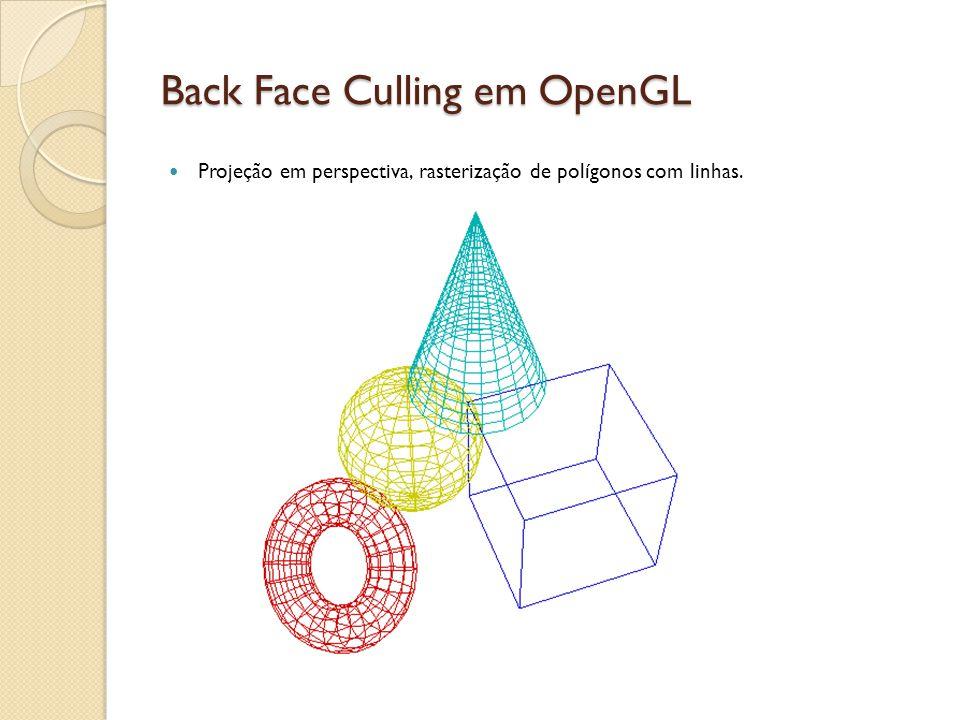 Back Face Culling em OpenGL Projeção em perspectiva, rasterização de polígonos com linhas.