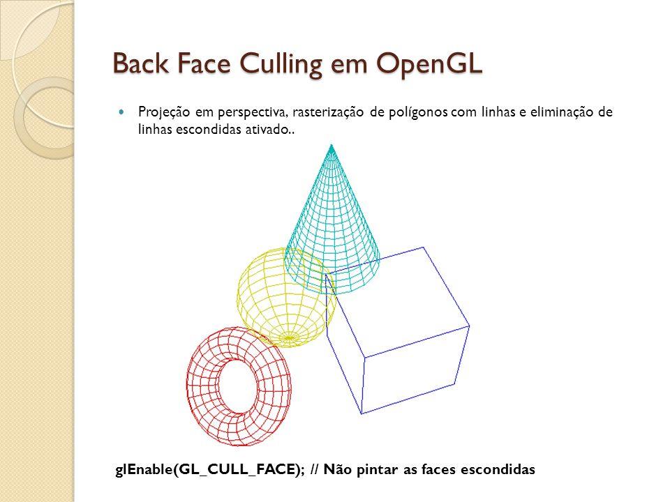 Back Face Culling em OpenGL Projeção em perspectiva, rasterização de polígonos com linhas e eliminação de linhas escondidas ativado.. glEnable(GL_CULL