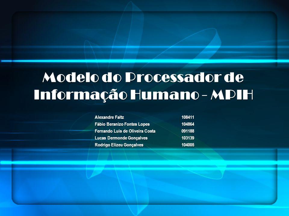 Modelo do Processador de Informação Humano - MPIH Alexandre Faltz108411 Fábio Beranizo Fontes Lopes104864 Fernando Luis de Oliveira Costa091188 Lucas