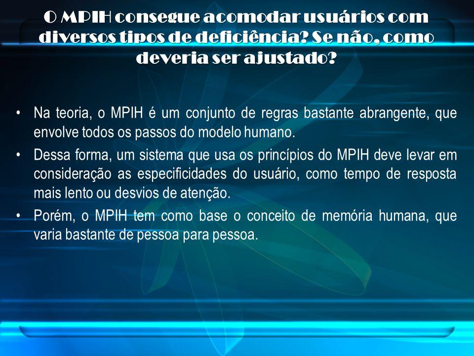 O MPIH consegue acomodar usuários com diversos tipos de deficiência? Se não, como deveria ser ajustado? Na teoria, o MPIH é um conjunto de regras bast