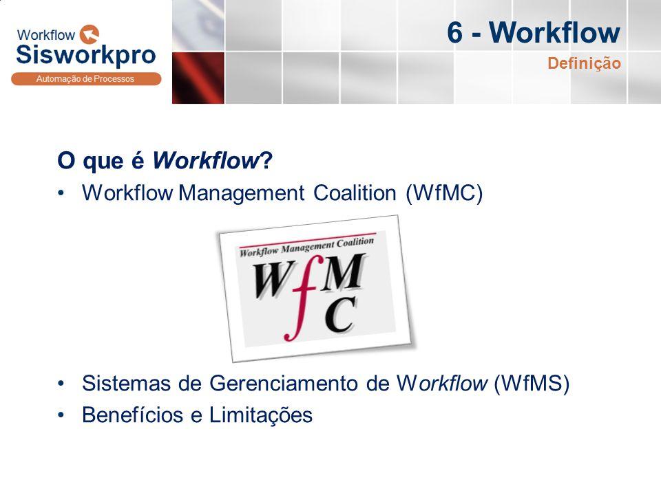 6 - Workflow O que é Workflow? Workflow Management Coalition (WfMC) Sistemas de Gerenciamento de Workflow (WfMS) Benefícios e Limitações Definição