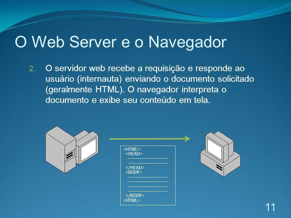 O Web Server e o Navegador 2. O servidor web recebe a requisição e responde ao usuário (internauta) enviando o documento solicitado (geralmente HTML).