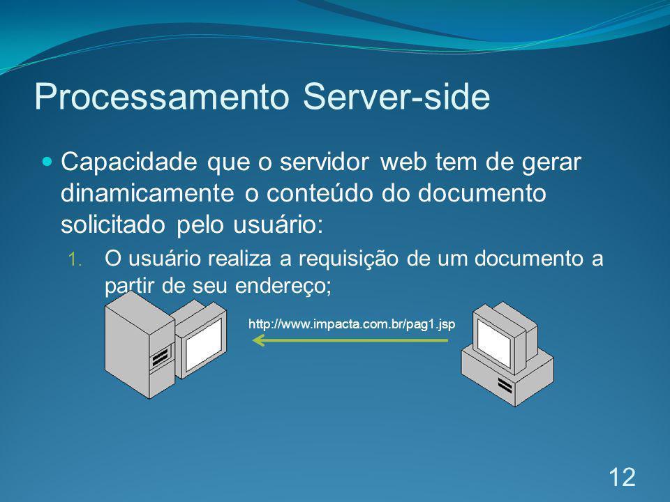 Processamento Server-side Capacidade que o servidor web tem de gerar dinamicamente o conteúdo do documento solicitado pelo usuário: 1. O usuário reali