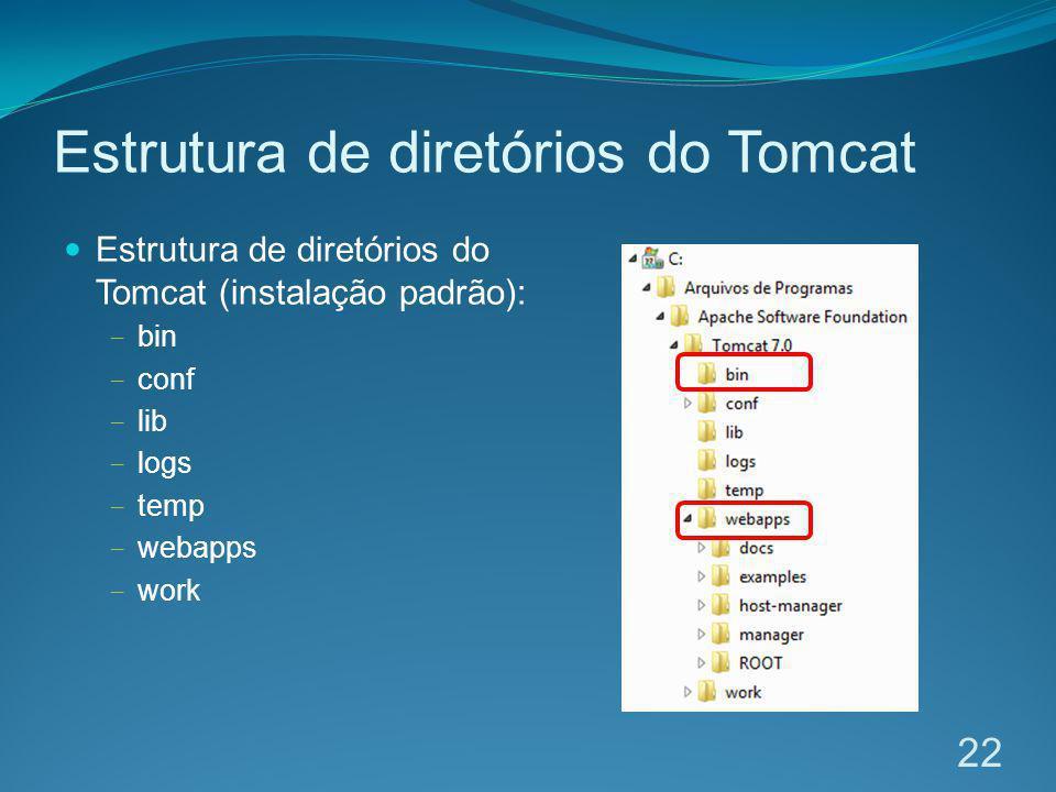 Estrutura de diretórios do Tomcat Estrutura de diretórios do Tomcat (instalação padrão): bin conf lib logs temp webapps work 22