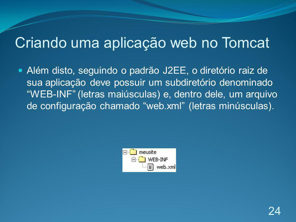Criando uma aplicação web no Tomcat Além disto, seguindo o padrão J2EE, o diretório raiz de sua aplicação deve possuir um subdiretório denominado WEB-
