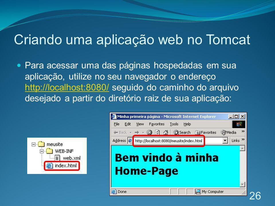 Criando uma aplicação web no Tomcat Para acessar uma das páginas hospedadas em sua aplicação, utilize no seu navegador o endereço http://localhost:808