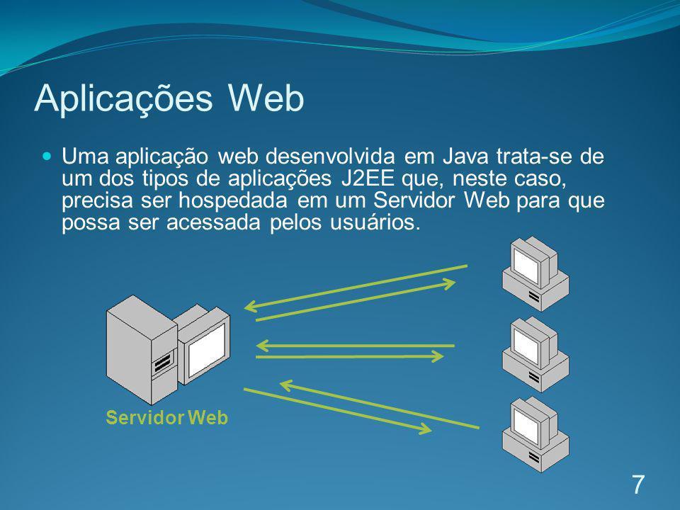 Aplicações Web Uma aplicação web desenvolvida em Java trata-se de um dos tipos de aplicações J2EE que, neste caso, precisa ser hospedada em um Servido