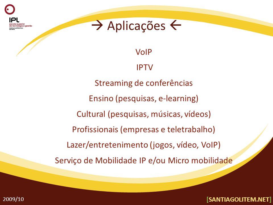 Aplicações 2009/10 VoIP IPTV Streaming de conferências Ensino (pesquisas, e-learning) Cultural (pesquisas, músicas, vídeos) Profissionais (empresas e