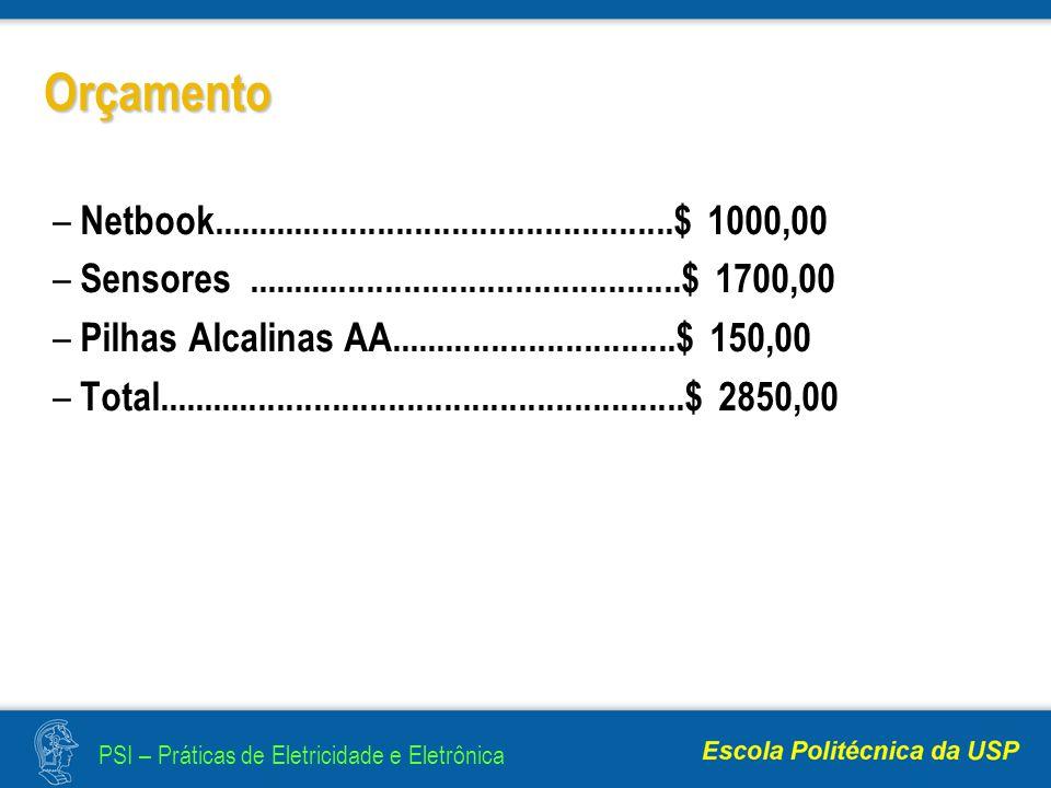 PSI – Práticas de Eletricidade e Eletrônica Orçamento – Netbook..................................................$ 1000,00 – Sensores...............................................$ 1700,00 – Pilhas Alcalinas AA...............................$ 150,00 – Total.........................................................$ 2850,00