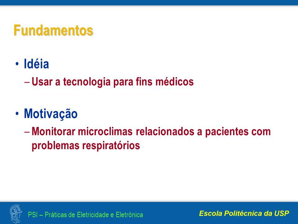 PSI – Práticas de Eletricidade e Eletrônica Fundamentos Idéia – Usar a tecnologia para fins médicos Motivação – Monitorar microclimas relacionados a pacientes com problemas respiratórios