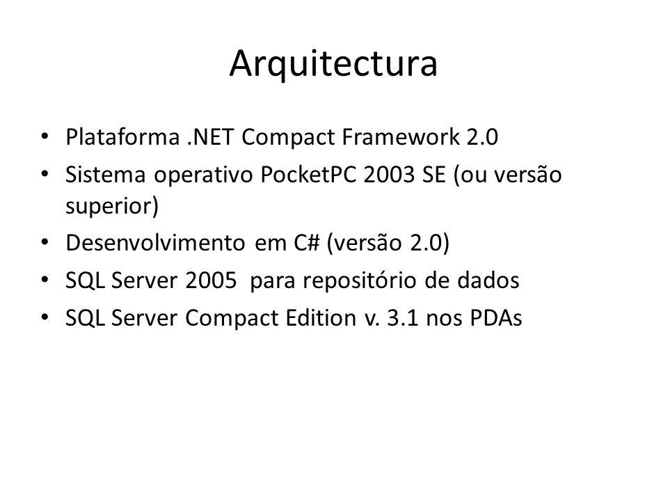 Arquitectura Plataforma.NET Compact Framework 2.0 Sistema operativo PocketPC 2003 SE (ou versão superior) Desenvolvimento em C# (versão 2.0) SQL Server 2005 para repositório de dados SQL Server Compact Edition v.