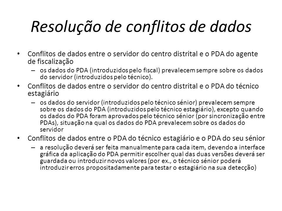 Resolução de conflitos de dados Conflitos de dados entre o servidor do centro distrital e o PDA do agente de fiscalização – os dados do PDA (introduzidos pelo fiscal) prevalecem sempre sobre os dados do servidor (introduzidos pelo técnico).