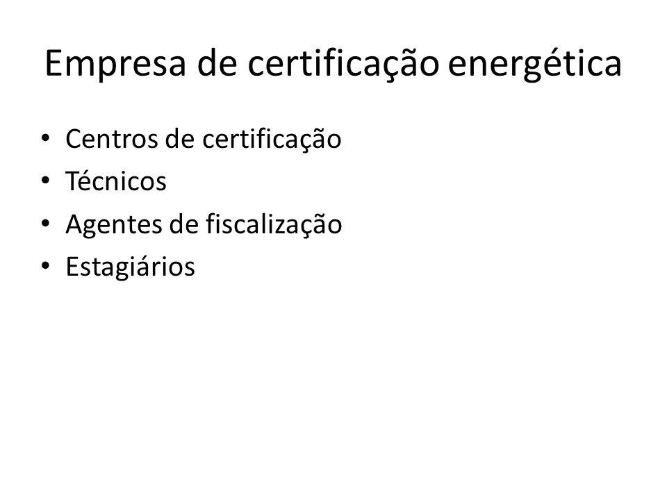 Empresa de certificação energética Centros de certificação Técnicos Agentes de fiscalização Estagiários