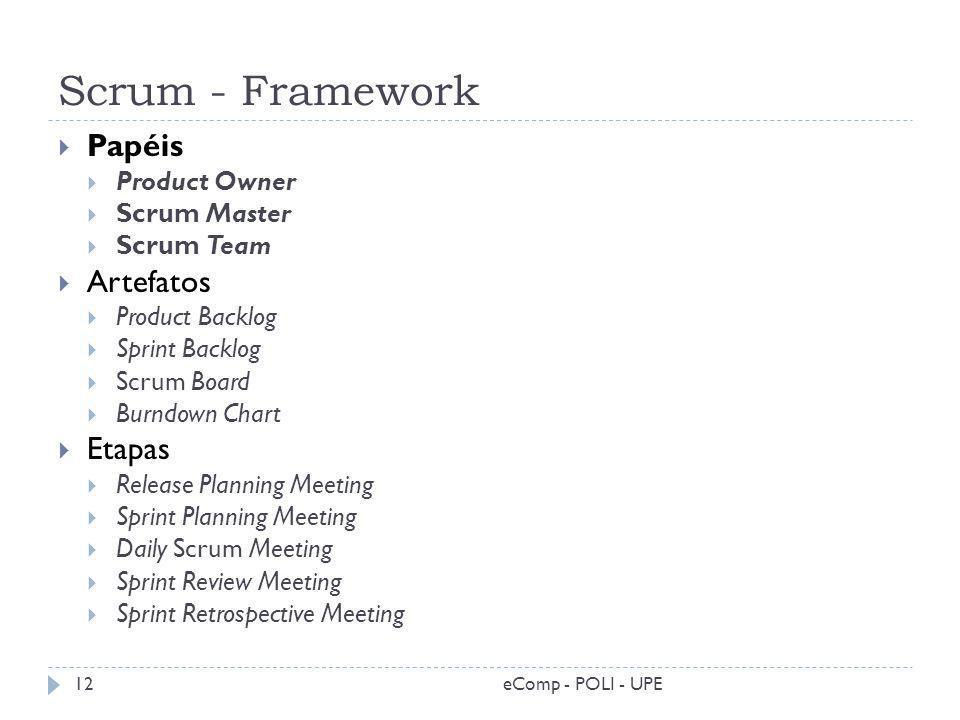 Scrum - Framework eComp - POLI - UPE12 Papéis Product Owner Scrum Master Scrum Team Artefatos Product Backlog Sprint Backlog Scrum Board Burndown Char