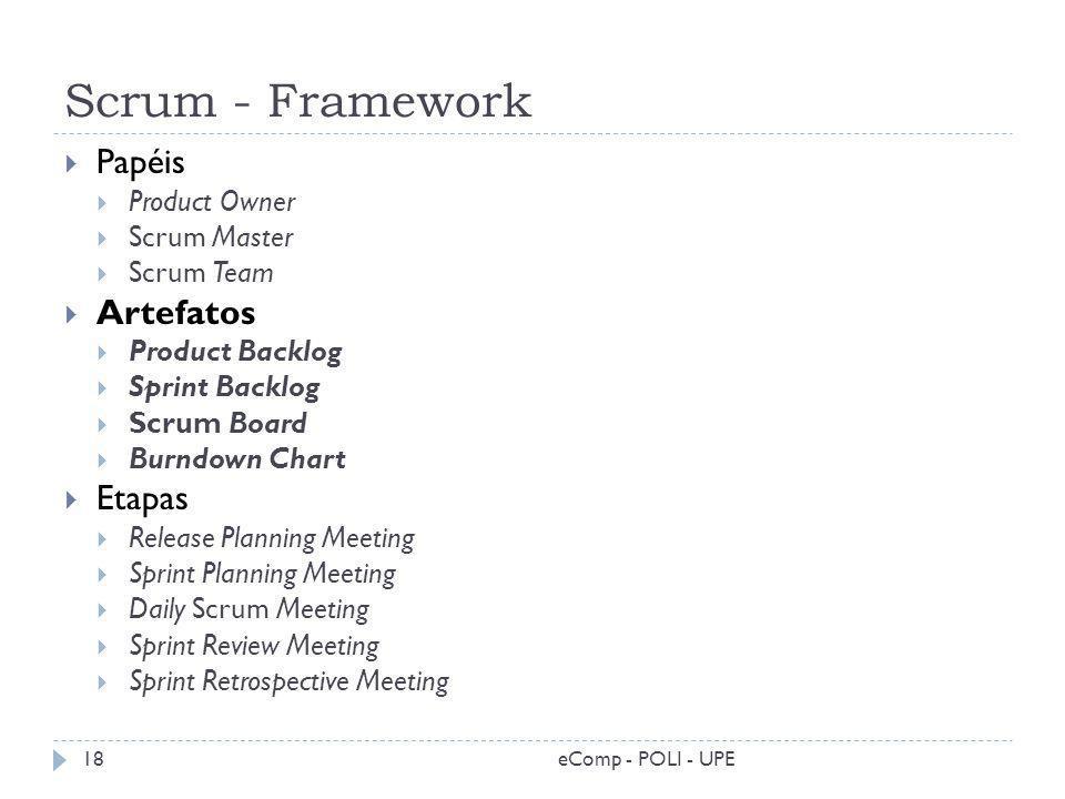 Scrum - Framework eComp - POLI - UPE18 Papéis Product Owner Scrum Master Scrum Team Artefatos Product Backlog Sprint Backlog Scrum Board Burndown Char