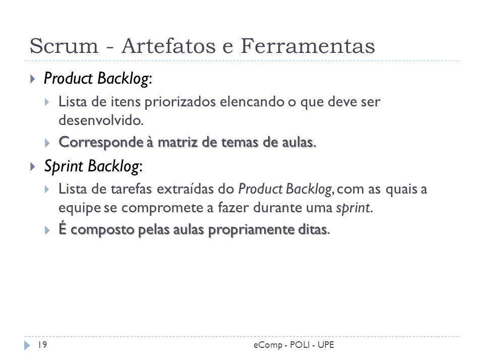 Scrum - Artefatos e Ferramentas Product Backlog: Lista de itens priorizados elencando o que deve ser desenvolvido. Corresponde à matriz de temas de au
