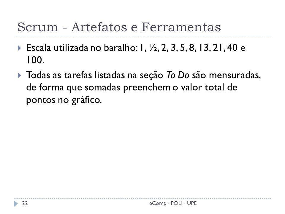 Scrum - Artefatos e Ferramentas eComp - POLI - UPE22 Escala utilizada no baralho: 1, ½, 2, 3, 5, 8, 13, 21, 40 e 100. Todas as tarefas listadas na seç