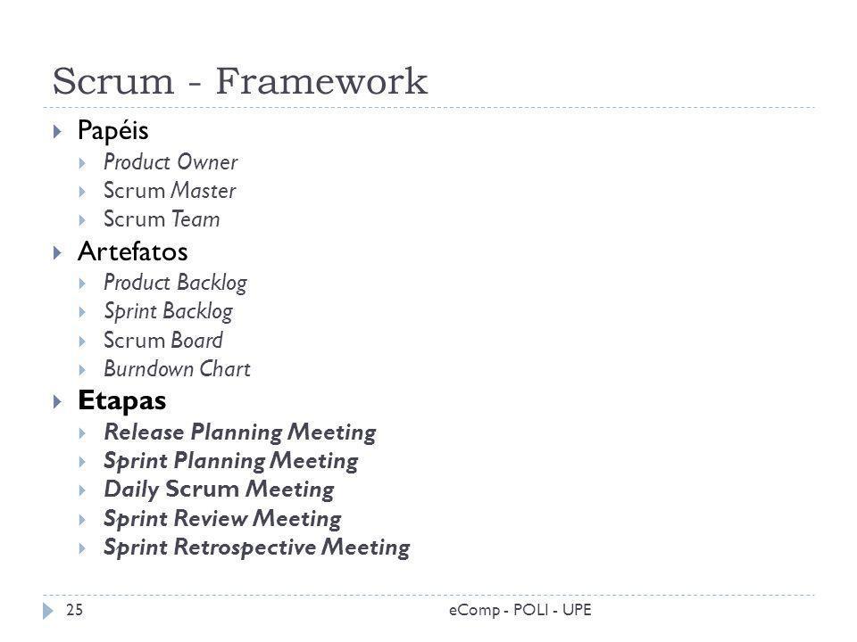 Scrum - Framework eComp - POLI - UPE25 Papéis Product Owner Scrum Master Scrum Team Artefatos Product Backlog Sprint Backlog Scrum Board Burndown Char