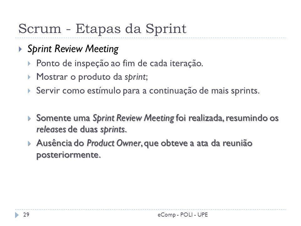 Scrum - Etapas da Sprint Sprint Review Meeting Ponto de inspeção ao fim de cada iteração. Mostrar o produto da sprint; Servir como estímulo para a con