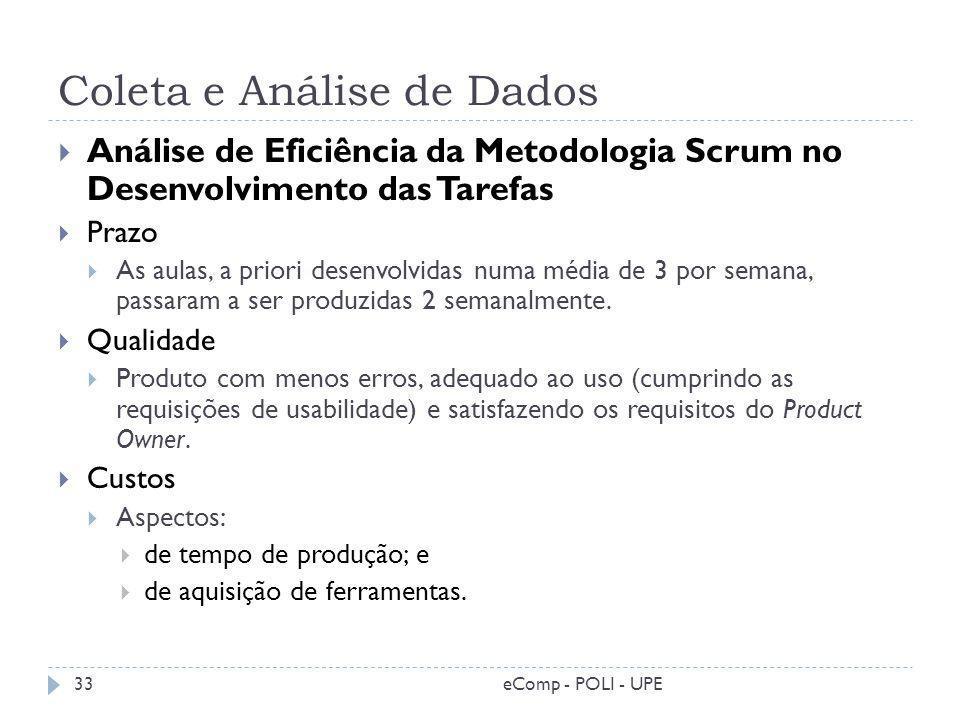 Coleta e Análise de Dados Análise de Eficiência da Metodologia Scrum no Desenvolvimento das Tarefas Prazo As aulas, a priori desenvolvidas numa média